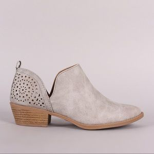 Qupid Sochi Perforated Back Detailed Ankle Booties